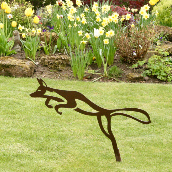 Fox garden sculpture in rust