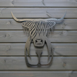 Highland cow silver garden wall art