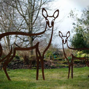 outdoor statues sculptures deer and fawn sculpture