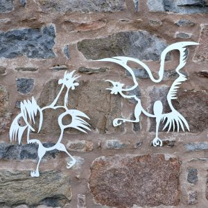 metal wall art fighting roosters