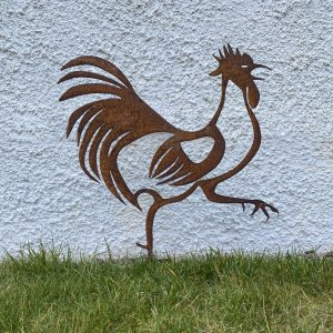 hank the rusty rooster metal garden sculpture